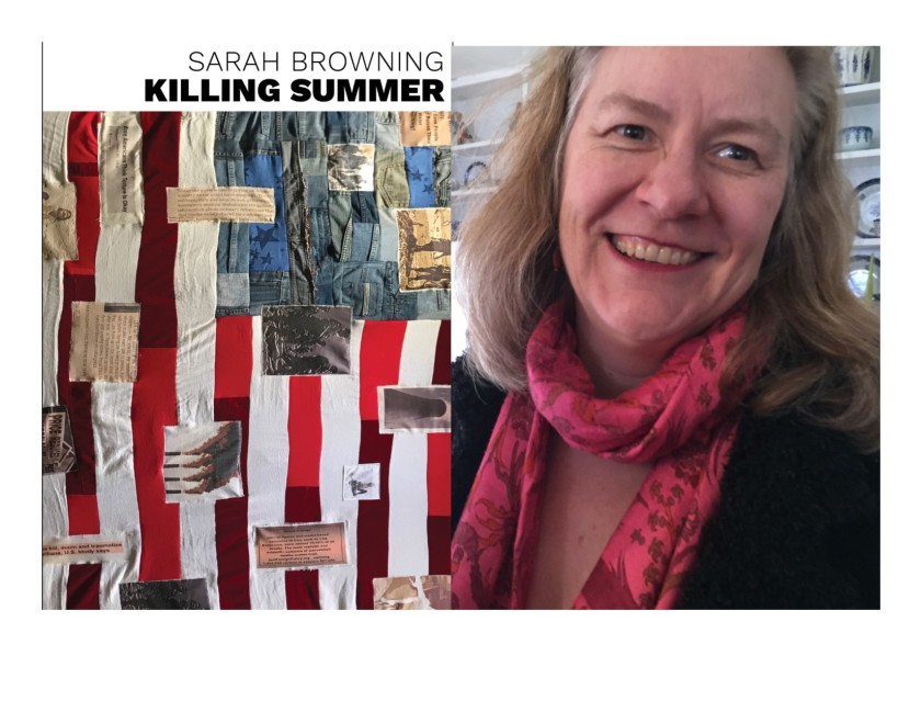 The cover of Sarah Browning's recent collection, Killing Summer, side by side with a picture of the author in a pink scarf, smiling.
